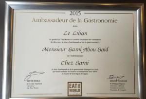 """Ambassadeur de la gastronomie pour le Liban"""""""